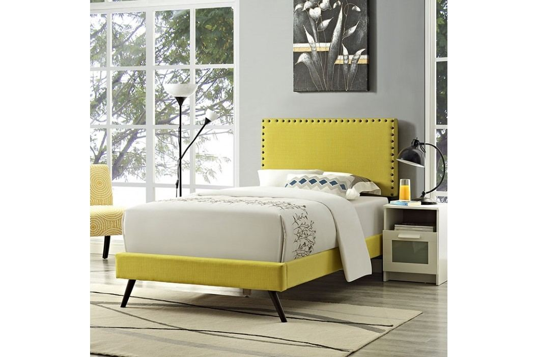 Phoebe  Twin Fabric Platform Bed with Round Splayed Legs in Sunny Beds