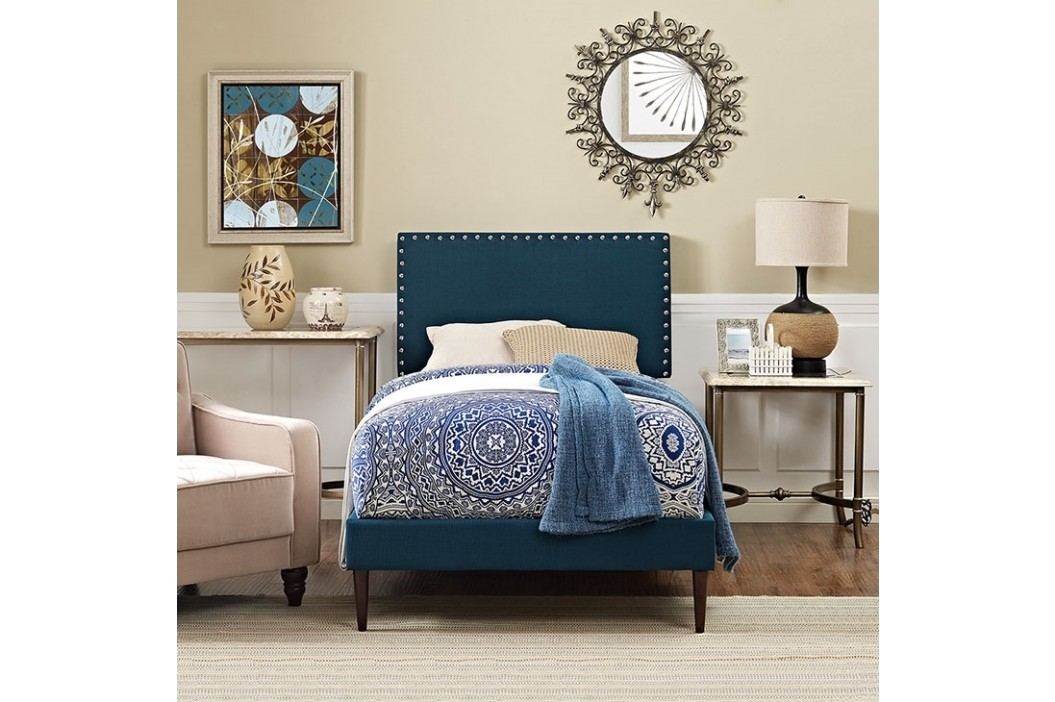 Phoebe  Twin Fabric Platform Bed with Round Tapered Legs in Azure