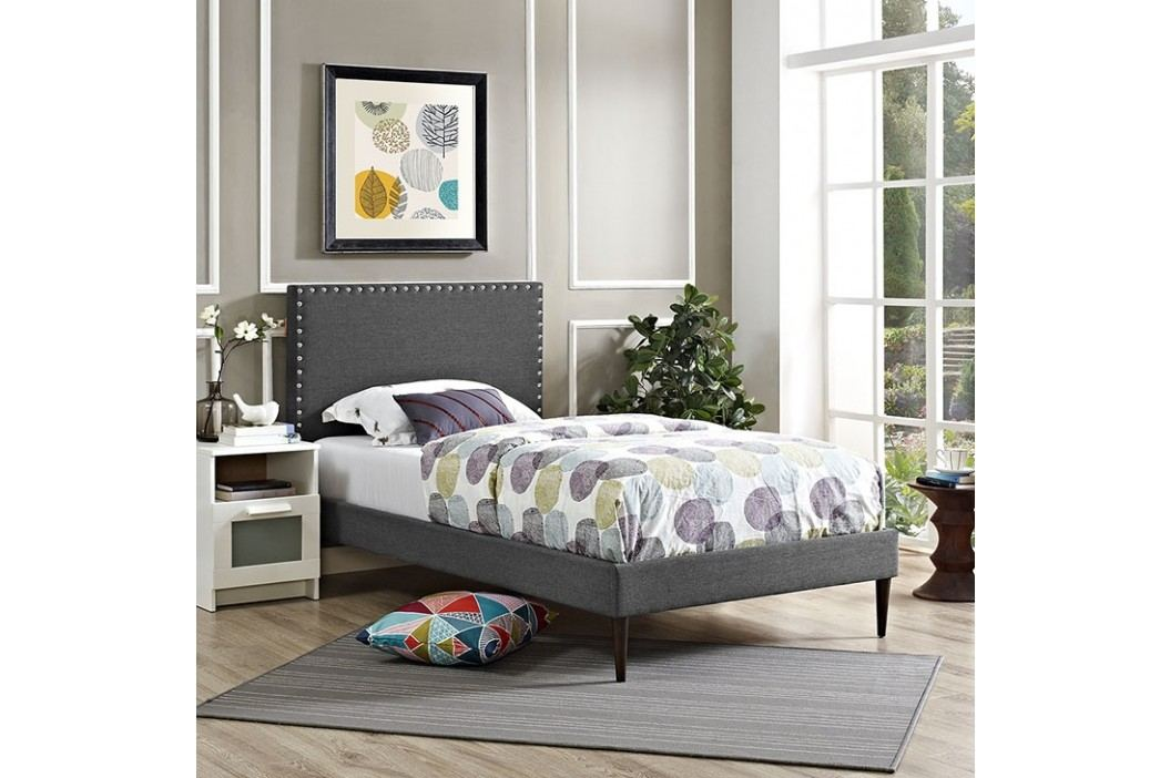 Phoebe  Twin Fabric Platform Bed with Round Tapered Legs in Gray Beds