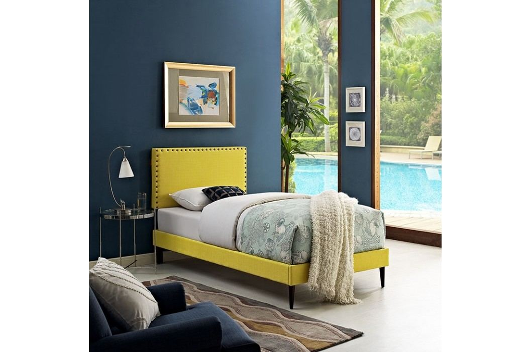 Phoebe  Twin Fabric Platform Bed with Round Tapered Legs in Sunny Beds