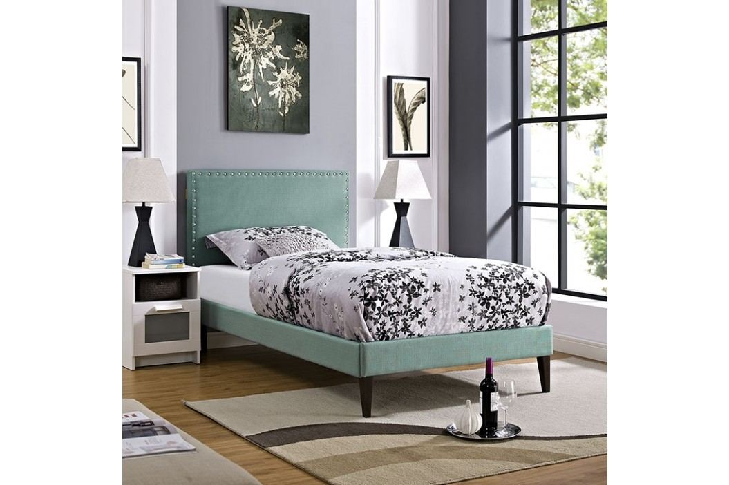 Phoebe  Twin Fabric Platform Bed with Squared Tapered Legs in Laguna Beds