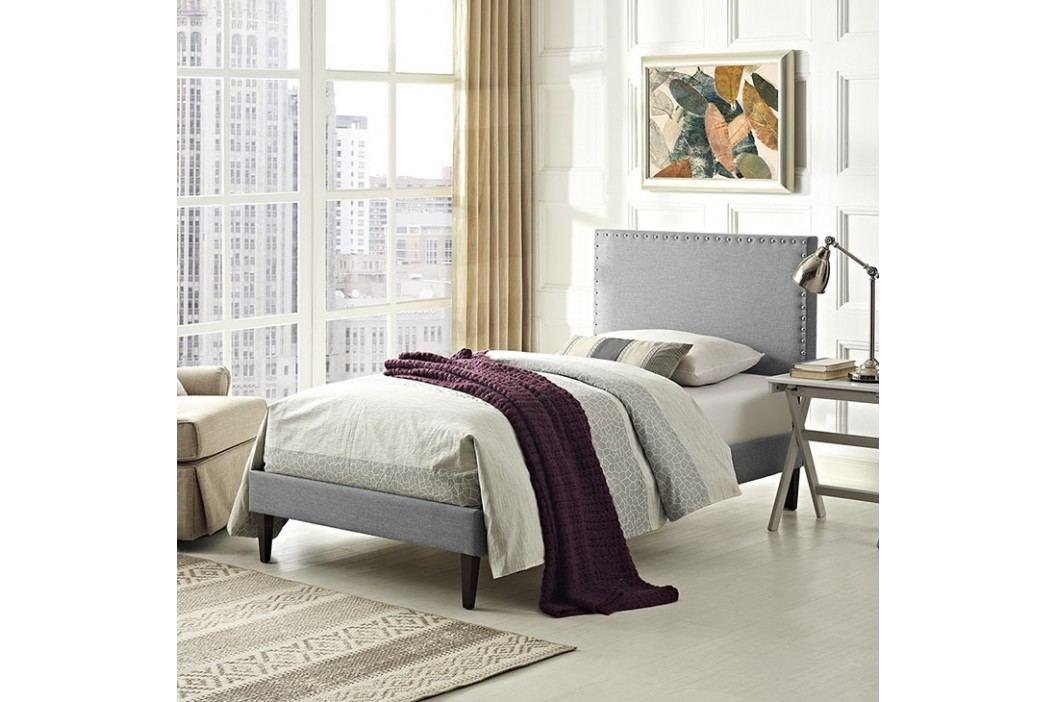 Phoebe  Twin Fabric Platform Bed with Squared Tapered Legs in Light Gray Beds