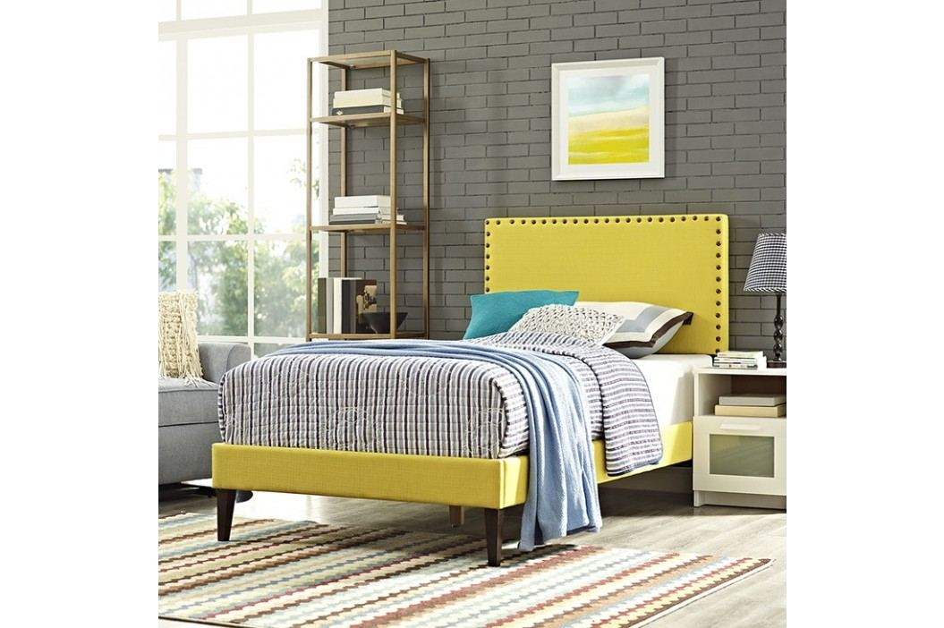 Phoebe  Twin Fabric Platform Bed with Squared Tapered Legs in Sunny Beds