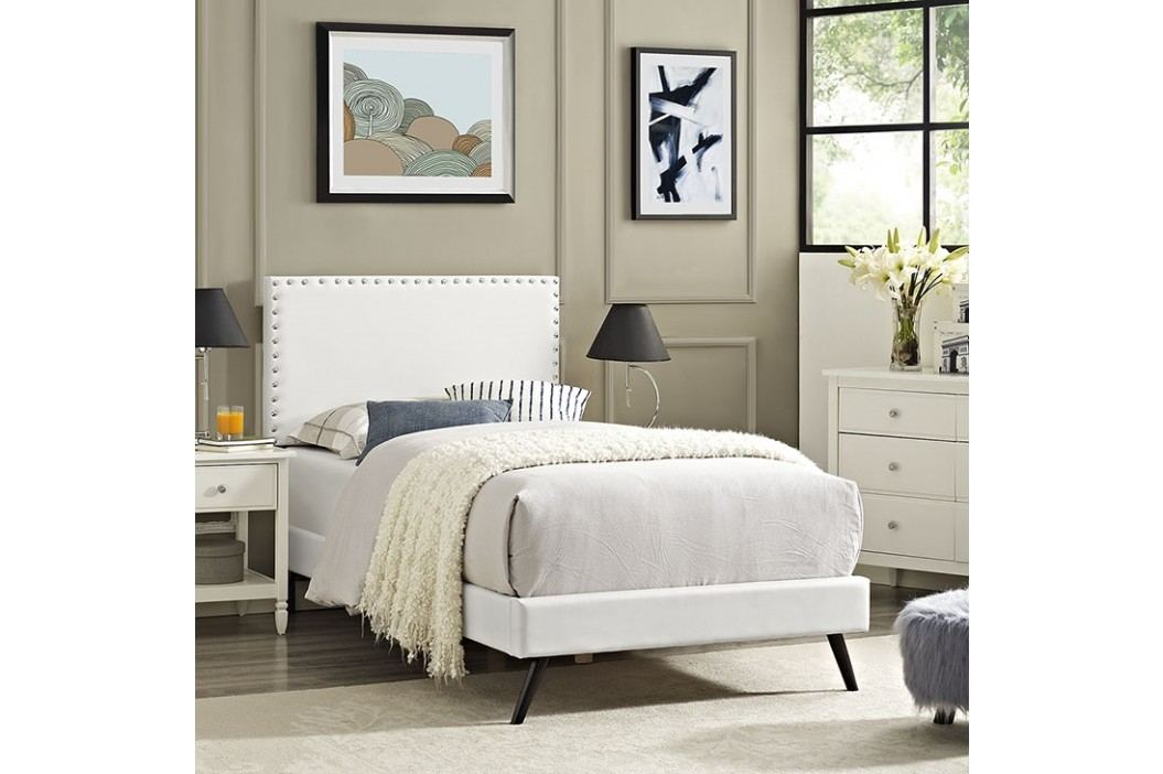 Phoebe  Twin Vinyl Platform Bed with Round Splayed Legs in White Beds