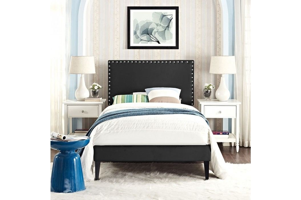 Phoebe  Twin Vinyl Platform Bed with Squared Tapered Legs in Black Beds