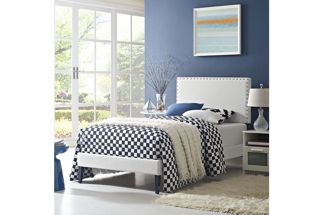 Phoebe  Twin Vinyl Platform Bed with Squared Tapered Legs in White Beds