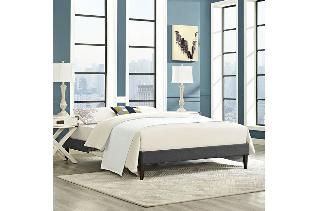 Sharon Full Fabric Bed Frame with Squared Tapered Legs in Gray Beds