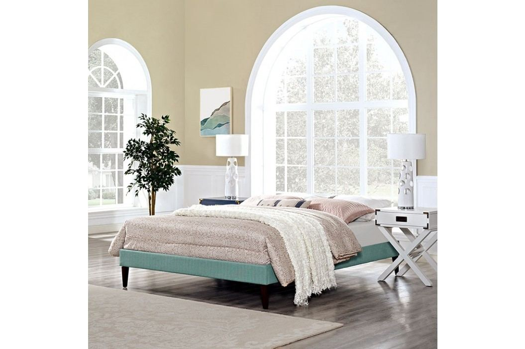 Sharon Full Fabric Bed Frame with Squared Tapered Legs in Laguna Beds