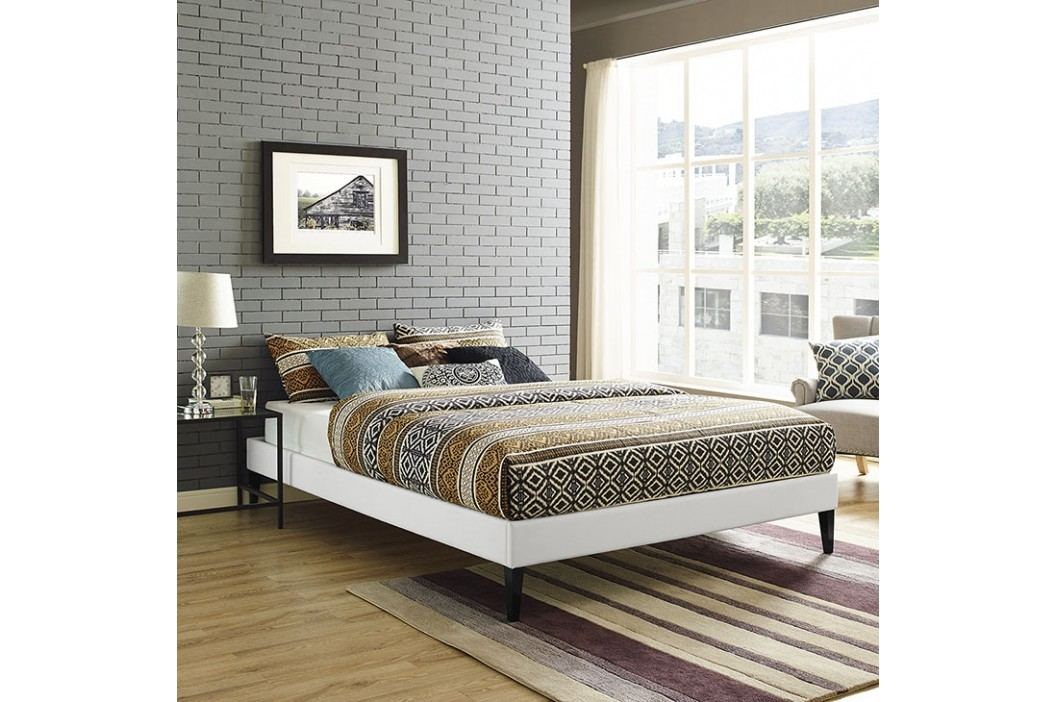 Sharon Queen Vinyl Bed Frame with Squared Tapered Legs in White Beds