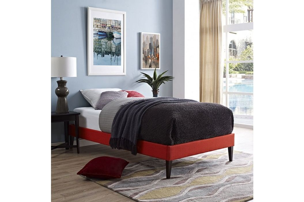 Sharon Twin Fabric Bed Frame with Squared Tapered Legs in Atomic Red Beds
