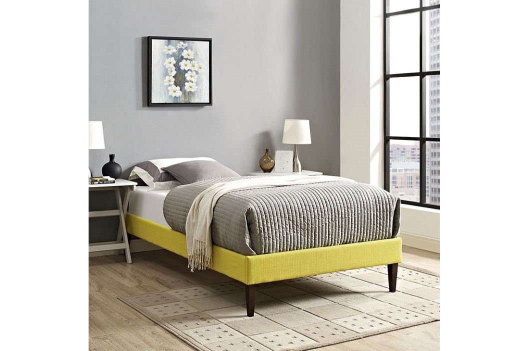 Sharon Twin Fabric Bed Frame with Squared Tapered Legs in Sunny Beds