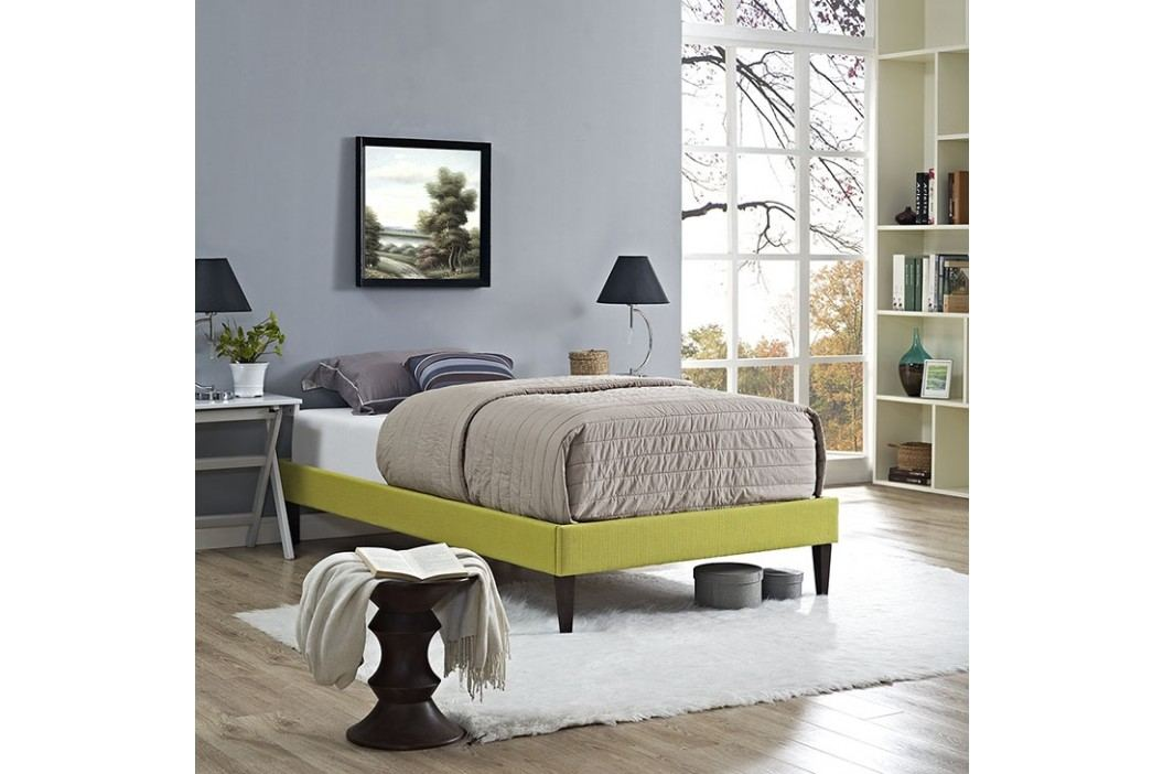 Sharon Twin Fabric Bed Frame with Squared Tapered Legs in Wheatgrass