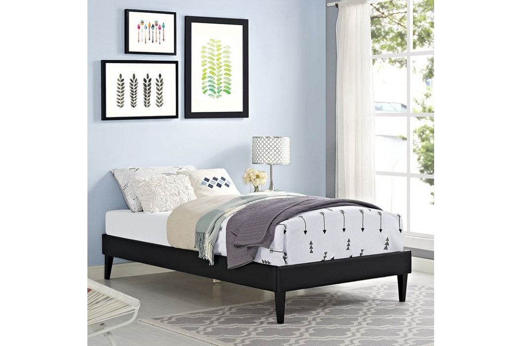 Sharon Twin Vinyl Bed Frame with Squared Tapered Legs in Black Beds