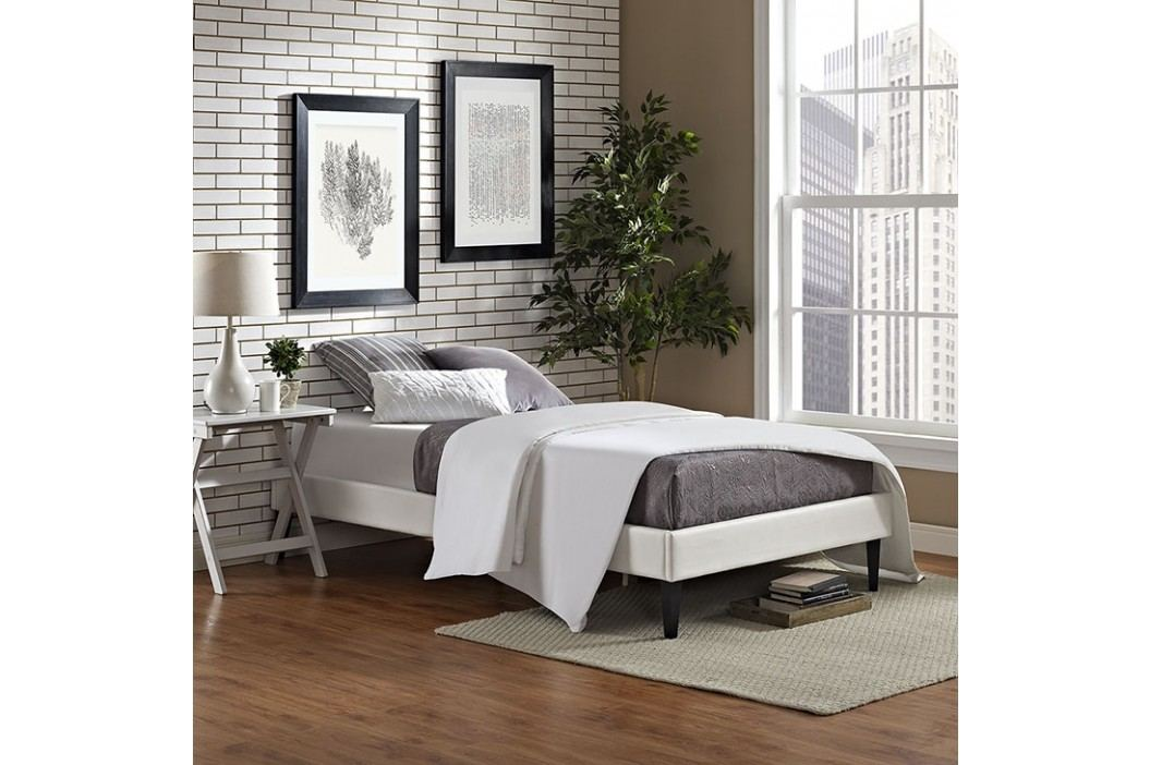 Sharon Twin Vinyl Bed Frame with Squared Tapered Legs in White Beds
