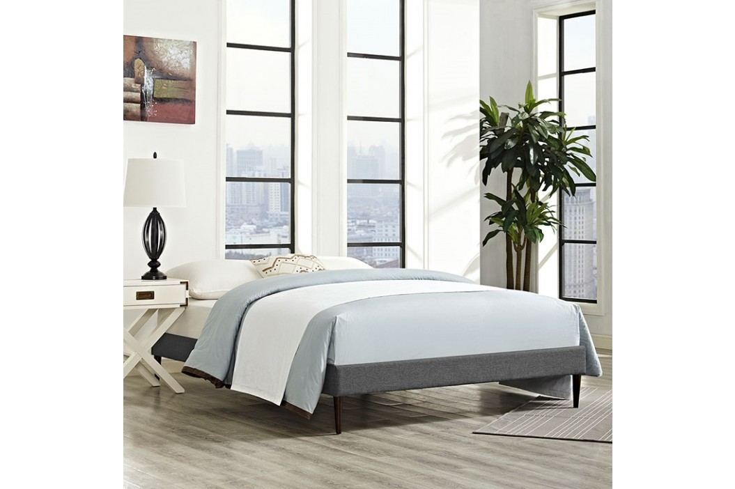 Sherry Full Fabric Bed Frame with Round Tapered Legs in Gray Beds