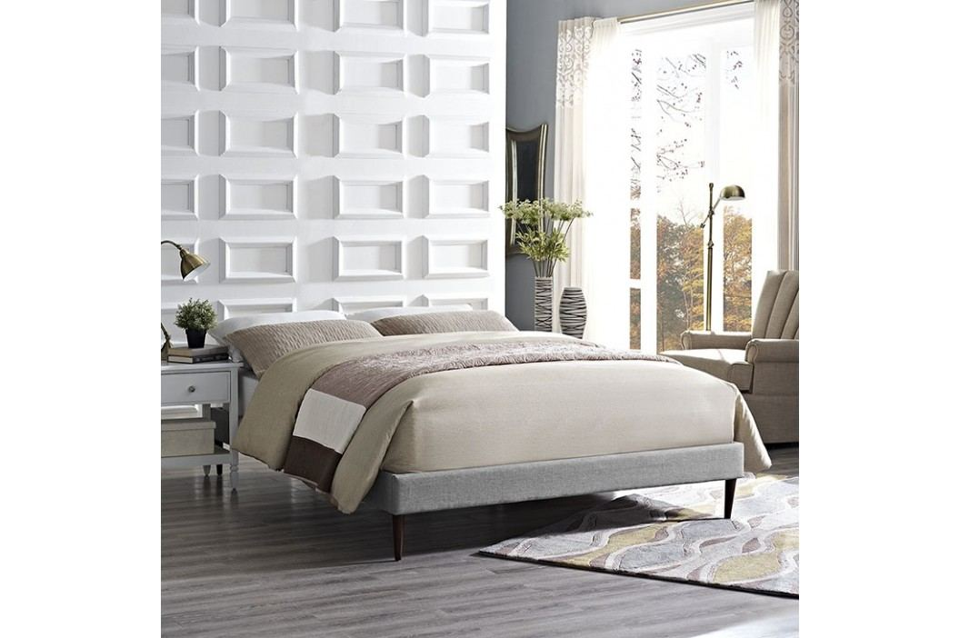 Sherry Full Fabric Bed Frame with Round Tapered Legs in Light Gray Beds