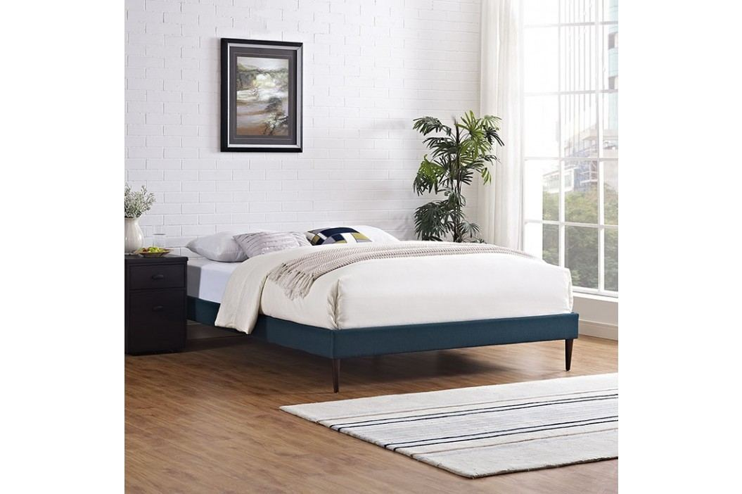 Sherry Queen Fabric Bed Frame with Round Tapered Legs in Azure Beds