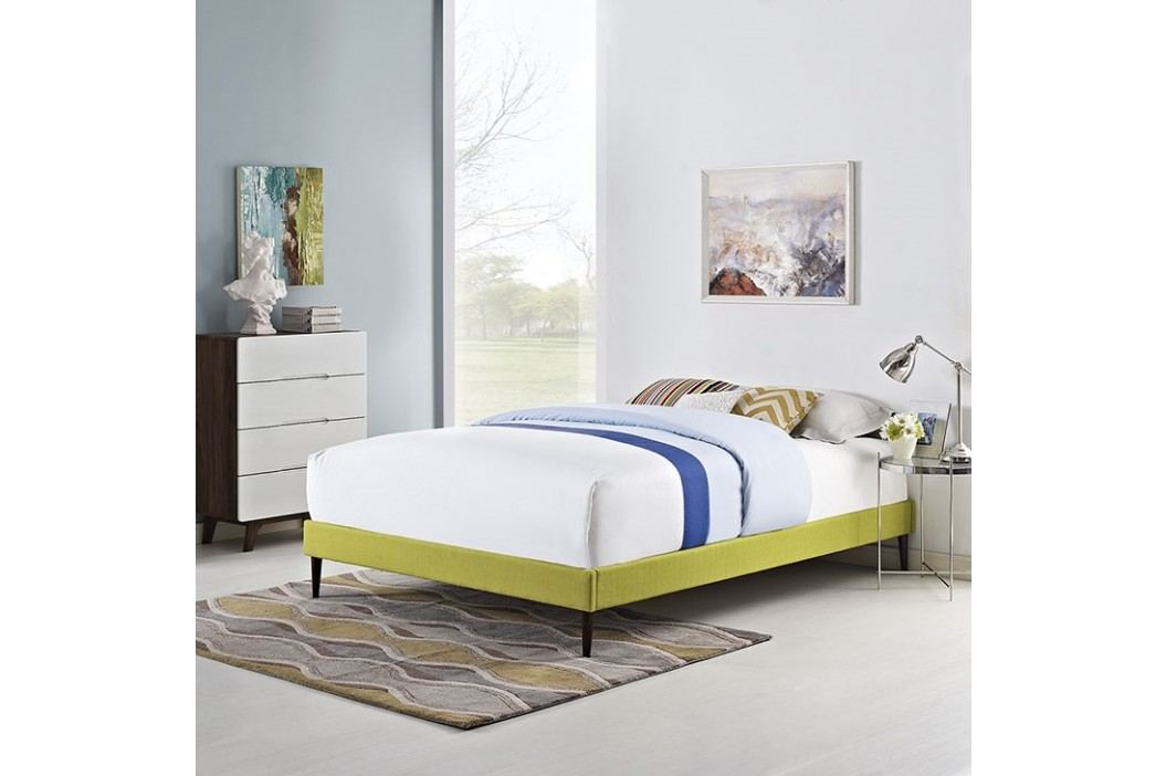 Sherry Queen Fabric Bed Frame with Round Tapered Legs in Wheatgrass Beds