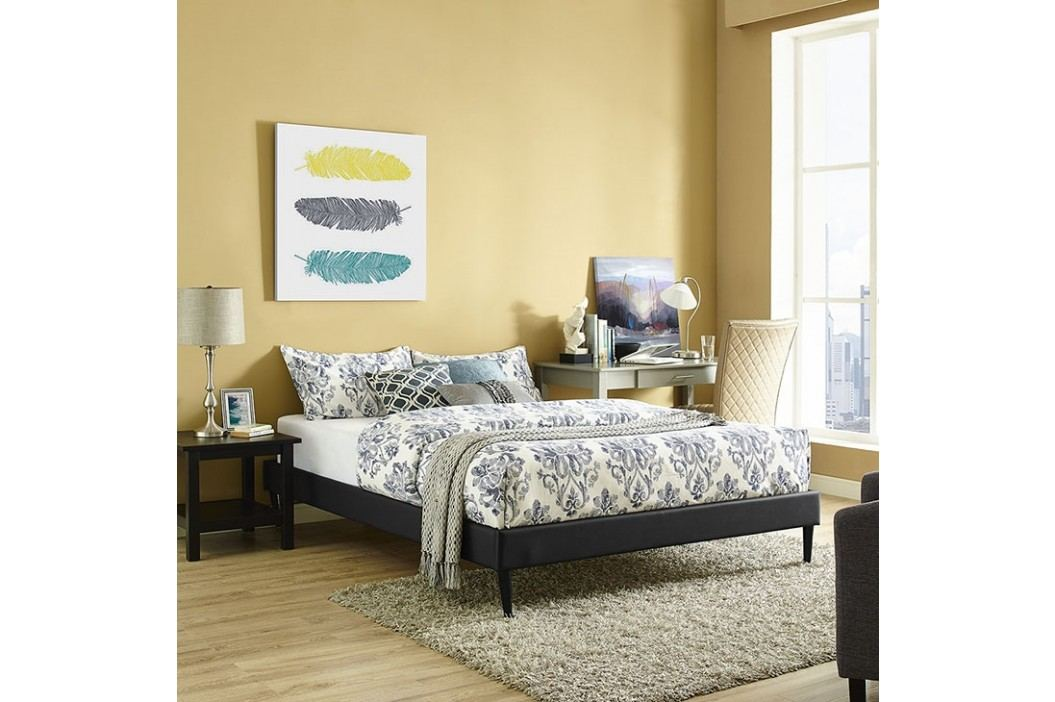 Sherry Queen Vinyl Bed Frame with Round Tapered Legs in Black Beds