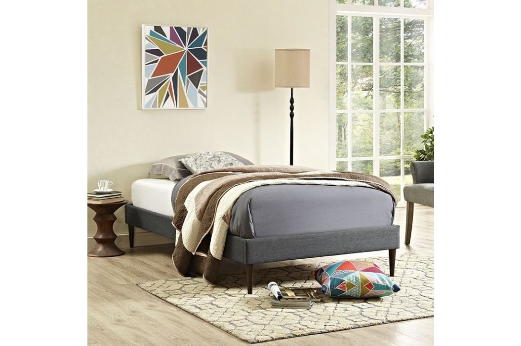 Sherry Twin Fabric Bed Frame with Round Tapered Legs in Gray Beds