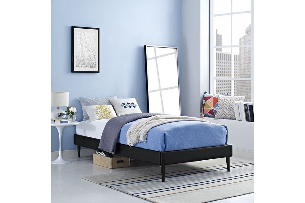 Sherry Twin Vinyl Bed Frame with Round Tapered Legs in Black Beds