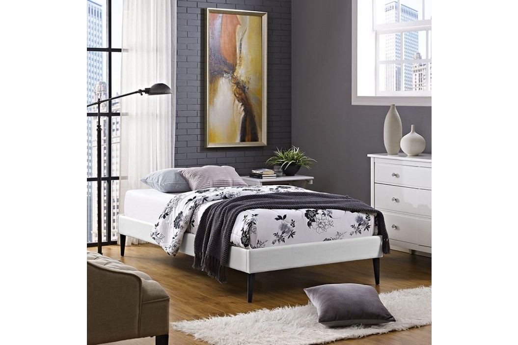 Sherry Twin Vinyl Bed Frame with Round Tapered Legs in White Beds