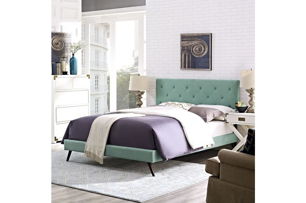 Terisa Full Fabric Platform Bed with Round Splayed Legs in Laguna Beds