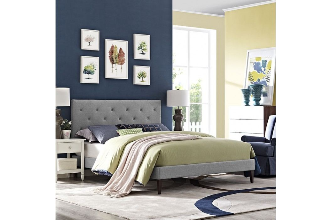 Terisa Full Fabric Platform Bed with Squared Tapered Legs in Light Gray Beds