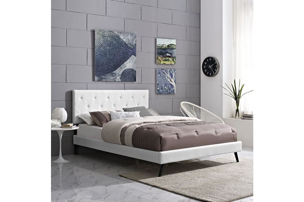 Terisa Full Vinyl Platform Bed with Round Splayed Legs in White Beds