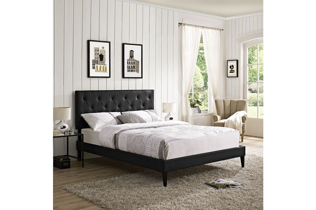 Terisa Full Vinyl Platform Bed with Squared Tapered Legs in Black Beds