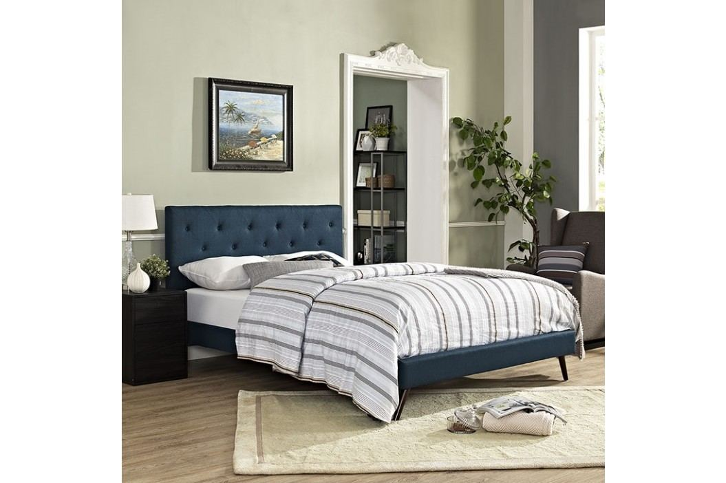 Terisa King Fabric Platform Bed with Round Splayed Legs in Azure Beds