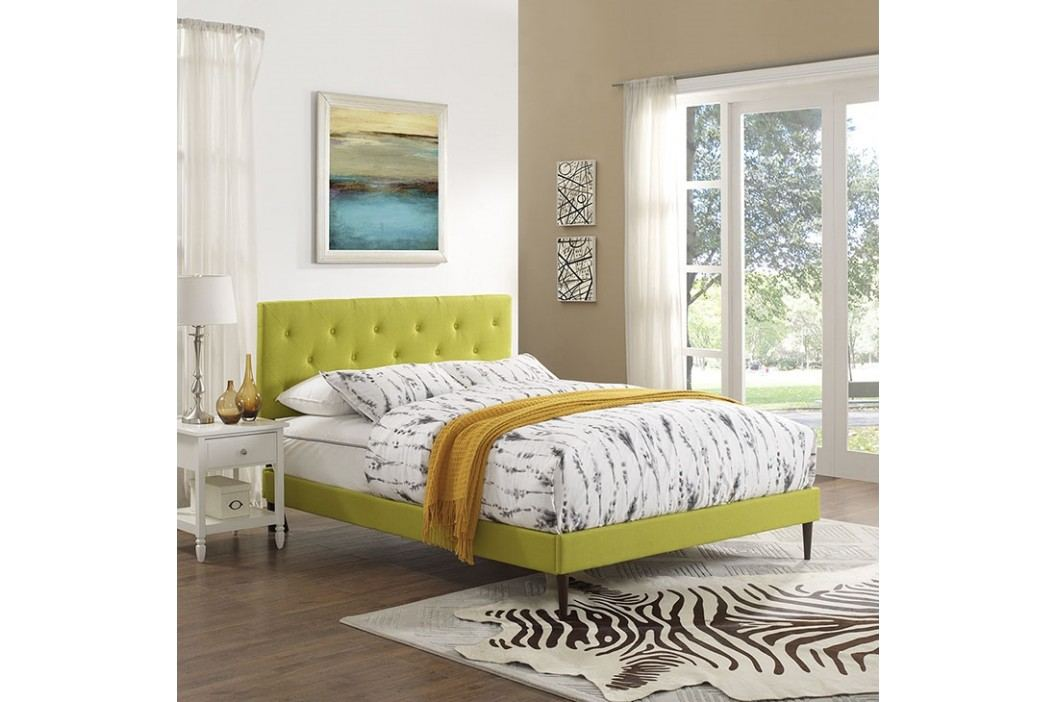 Terisa King Fabric Platform Bed with Round Tapered Legs in Wheatgrass Beds