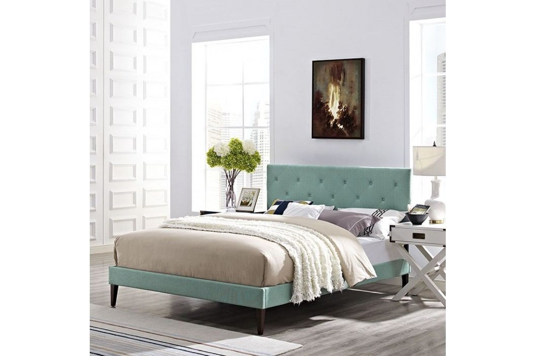 Terisa King Fabric Platform Bed with Squared Tapered Legs in Laguna
