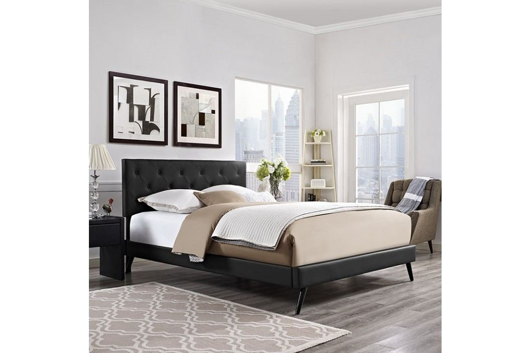 Terisa King Vinyl Platform Bed with Round Splayed Legs in Black Beds