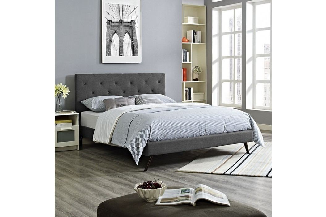 Terisa Queen Fabric Platform Bed with Round Splayed Legs in Gray Beds