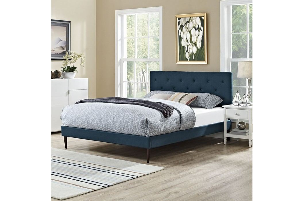 Terisa Queen Fabric Platform Bed with Round Tapered Legs in Azure Beds