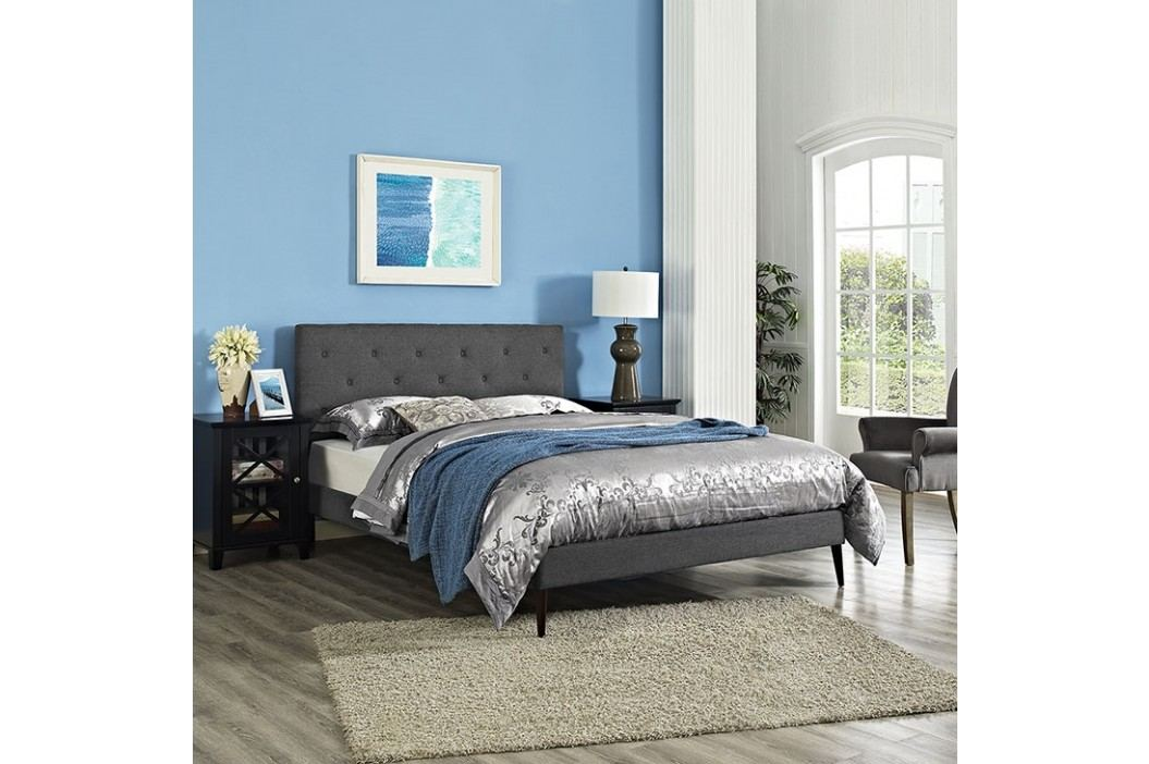 Terisa Queen Fabric Platform Bed with Round Tapered Legs in Gray Beds