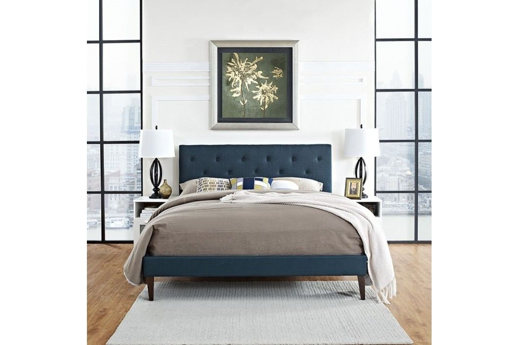 Terisa Queen Fabric Platform Bed with Squared Tapered Legs in Azure Beds