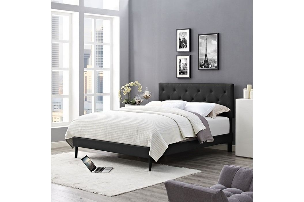 Terisa Queen Vinyl Platform Bed with Round Tapered Legs in Black Beds