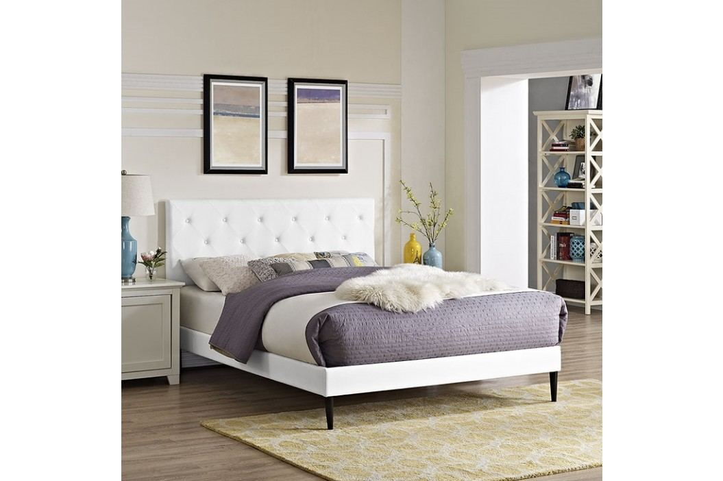 Terisa Queen Vinyl Platform Bed with Round Tapered Legs in White Beds