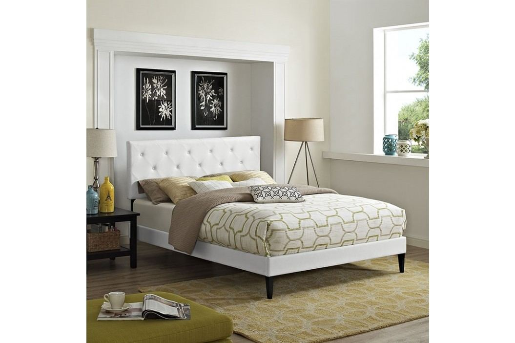 Terisa Queen Vinyl Platform Bed with Squared Tapered Legs in White Beds
