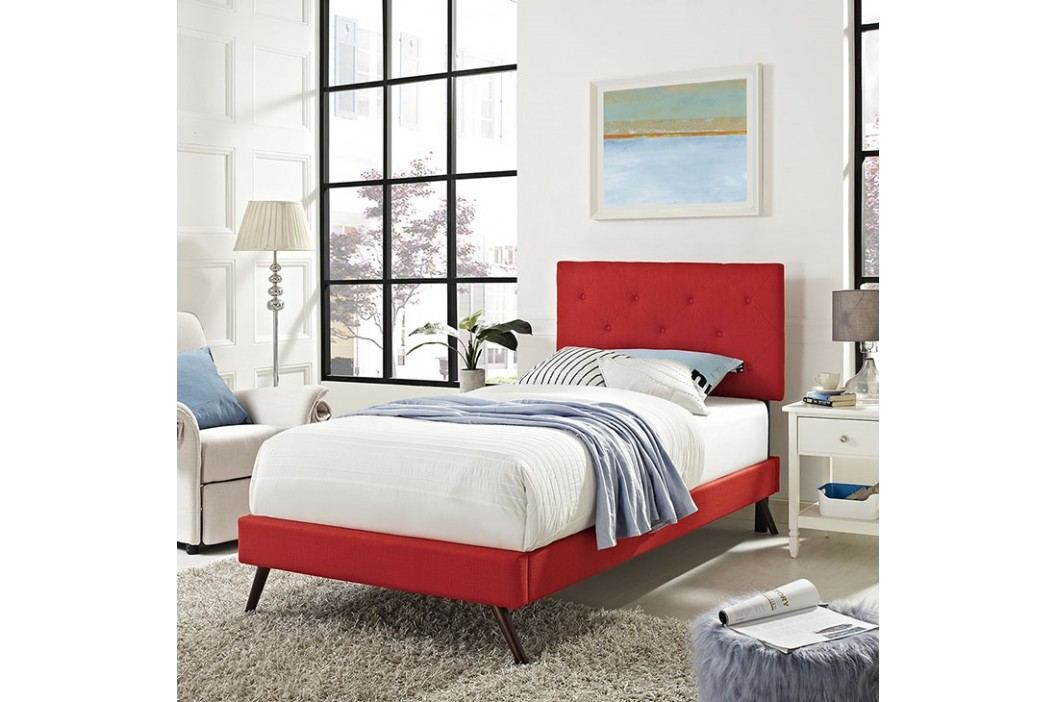 Terisa Twin Fabric Platform Bed with Round Splayed Legs in Atomic Red Beds