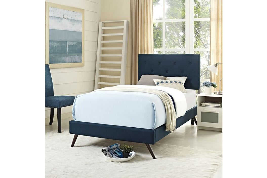 Terisa Twin Fabric Platform Bed with Round Splayed Legs in Azure Beds