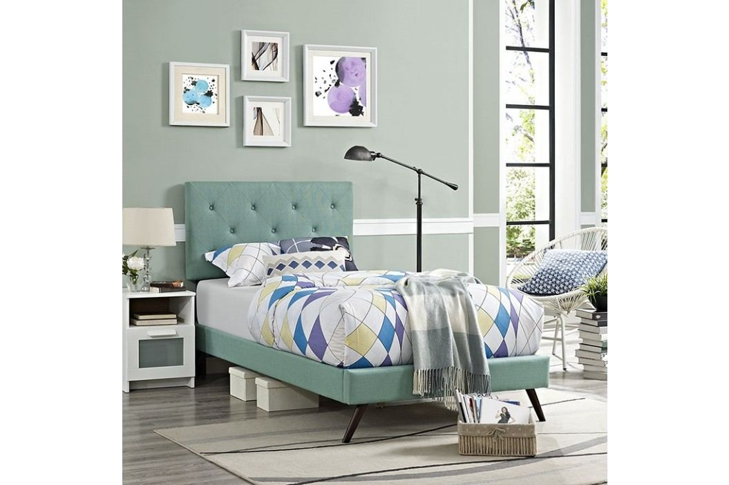 Terisa Twin Fabric Platform Bed with Round Splayed Legs in Laguna Beds