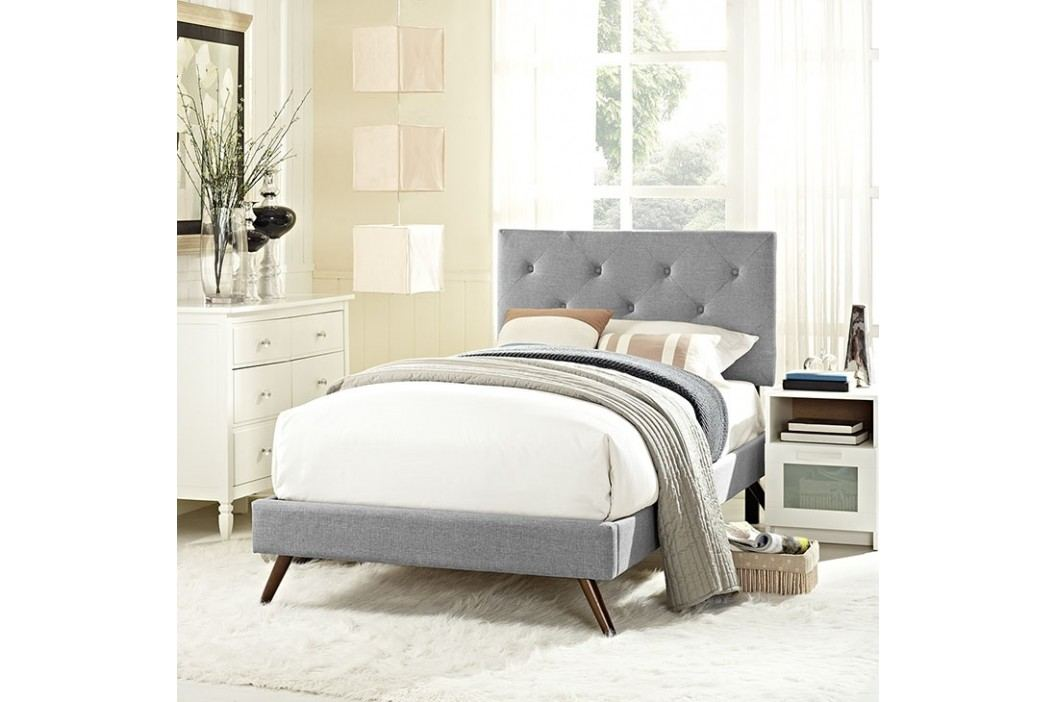 Terisa Twin Fabric Platform Bed with Round Splayed Legs in Light Gray Beds