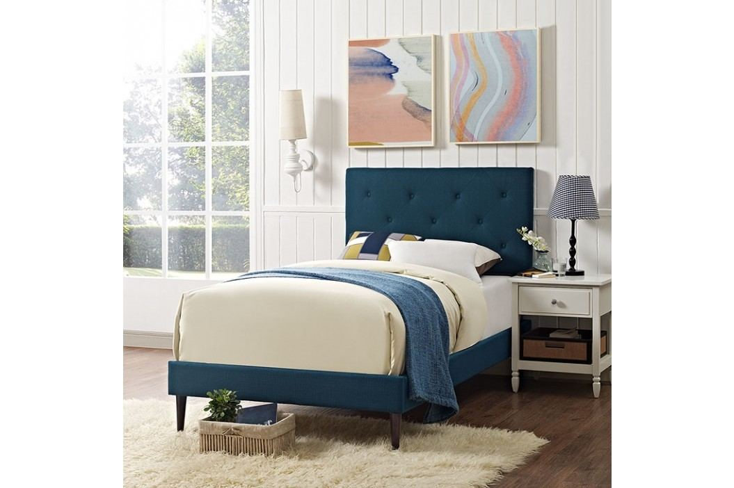 Terisa Twin Fabric Platform Bed with Round Tapered Legs in Azure Beds