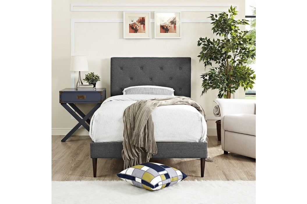 Terisa Twin Fabric Platform Bed with Round Tapered Legs in Gray Beds