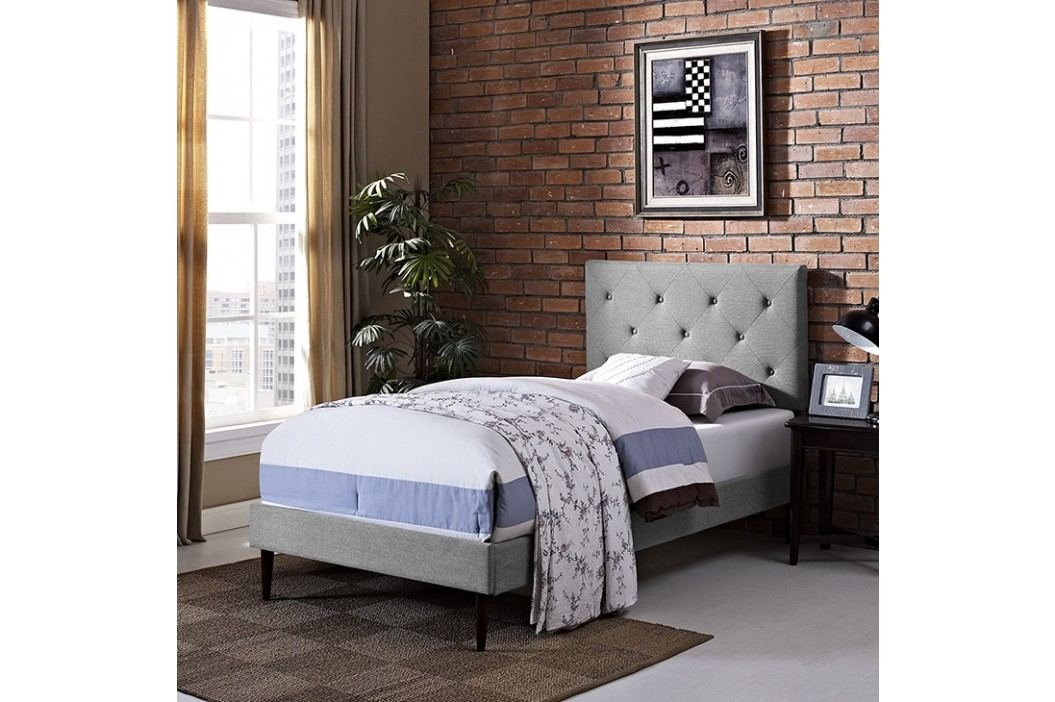 Terisa Twin Fabric Platform Bed with Round Tapered Legs in Light Gray Beds