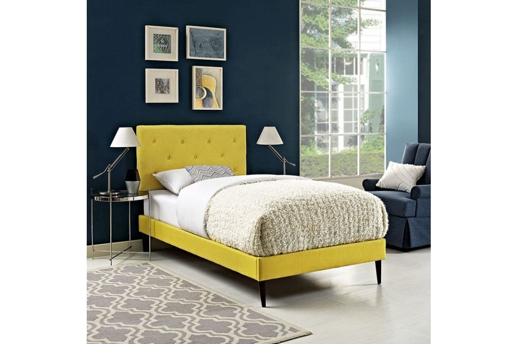 Terisa Twin Fabric Platform Bed with Round Tapered Legs in Sunny Beds