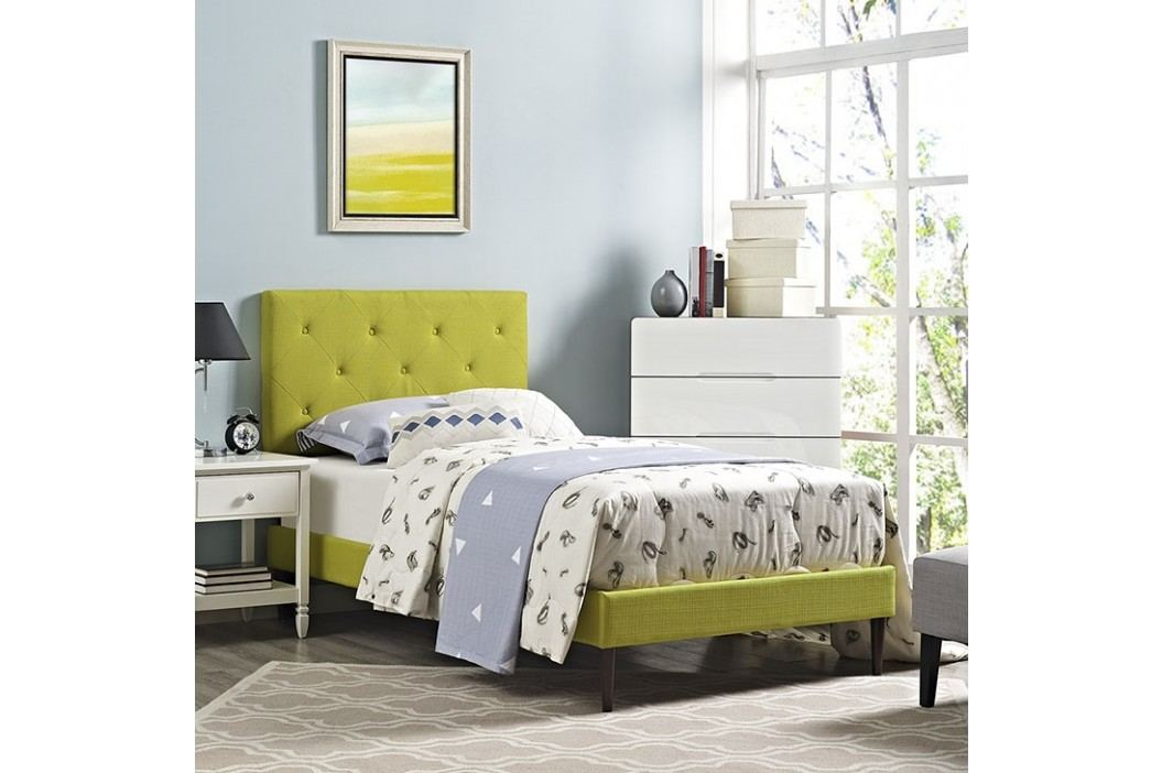 Terisa Twin Fabric Platform Bed with Round Tapered Legs in Wheatgrass Beds